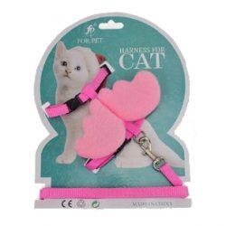 Rosa kattesele med vinger og lenke
