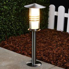 Sokkellampen Erina i rustfritt stål