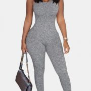 Solid Color Tight-Fitting Straps Sleeveless Backless Jumpsuits For Women