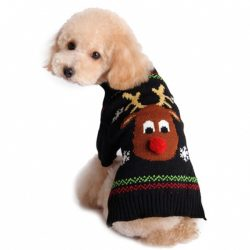 Sort julegenser til hund med reinsdyr