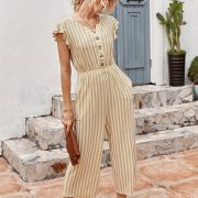 Striped Print Flying Sleeves Casual Jumpsuit For Women