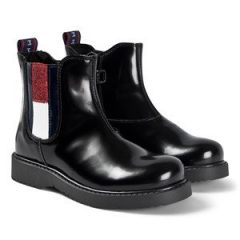 Tommy Hilfiger Glitter Flag Logo Boots Svarte 37 (UK 4)