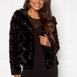 VERO MODA Curl Hoody Faux Fur Black L