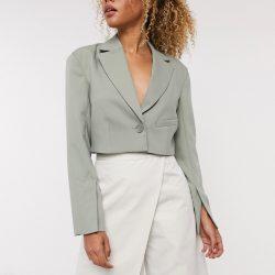 Weekday Dominique cropped blazer in khaki-Green