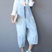 Women Blue Strap Zipper Pockets Jumpsuits Overalls