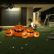 vidaXL Halloween oppblåsbar gresskarfamilie med LED 1,8 m