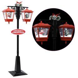 vidaXL Julegatelampe med julenisse svart og rød 81x40x188 cm PVC