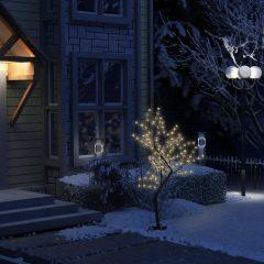 vidaXL Juletre 128 lysdioder varmhvitt lys kirsebærblomst 120 cm