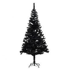 vidaXL Kunstig juletre med stativ svart 180 cm PVC
