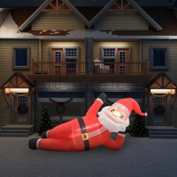 vidaXL Oppblåsbar julenisse LED IP44 rød 360 cm XXL