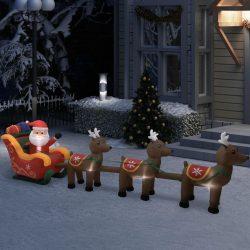 vidaXL Oppblåsbar julenisse og reinsdyr LED 490 cm