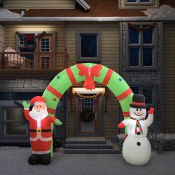 vidaXL Oppblåsbar julenisse og snømann dekorasjonbue LED 280 cm