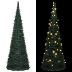 vidaXL Pop-up kunstig juletre med LED streng grønn 180 cm
