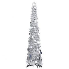 vidaXL Pop-up kunstig juletre sølv 120 cm PET