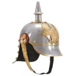 vidaXL Tysk prøyssisk hjelm antikk replika LARP sølv stål