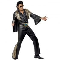 Elvis Kostyme Sort og Gull - L