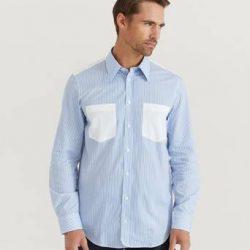 Helmut Lang Skjorte Stripe PR Shirt Blå