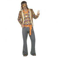 Hippie Sanger Herre Kostyme - S