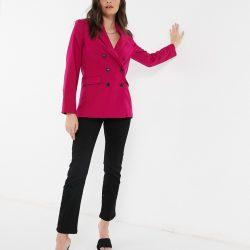 Mango double breasted blazer in raspberry-Pink