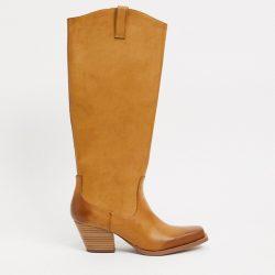 Monki vegan leather western boot in beige