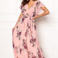 Goddiva Flutter Floral Maxi Dress Peach L (UK14)