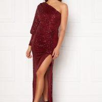 Goddiva One Shoulder Maxi Dress Wine S (UK10)
