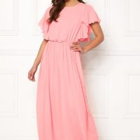 John Zack Frill Sleeve Maxi Dress Rose Pink M (UK12)