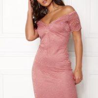 New Look Scallop Bardot Midi Dress Shell Pink XS (UK8)