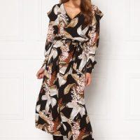 OBJECT Liliti L/S Long Dress Black AOP 40