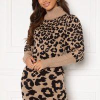AX Paris Animal Knitted Dress Stone Leo S/M