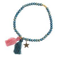 Crystal Bead Bracelet 4 MM W/blush Rose