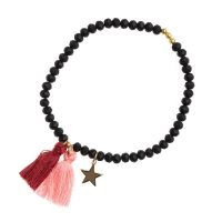 Crystal Bead Bracelet 4 MM W/ox RED / Blush Rose