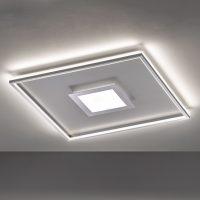 LED-taklampe Zoe, kvadratisk, krom, 80x80 cm