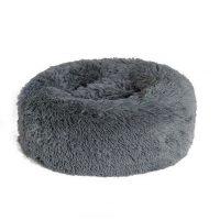 Mørk grå liten rund hund- og katteseng