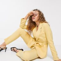 Soaked In Luxury belted suit blazer-Yellow