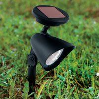 Solcelledrevet LED-spot Ludo med jordspyd, svart