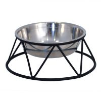Stilig hundeskål med stålstativ med antiskli