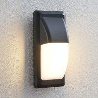 Utendørs LED-vegglampe Nikan, IP65, mørkegrå