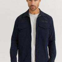 Woodbird Overshirt Klarc Zip Shirt Blå