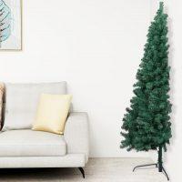 vidaXL Kunstig juletre halvt med stativ grønn 150 cm PVC