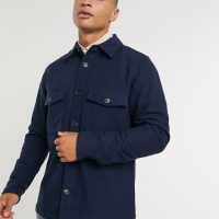 Calvin Klein wool overshirt with chest pockets in navy
