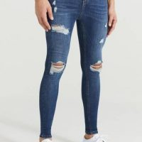 Nimes Jeans Ripped & Repaired Spray on Jeans Blå