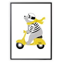 XO Posters Poster Mr Bear On Moped 50x70 cm