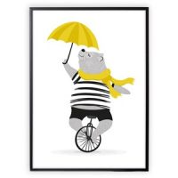 XO Posters Poster Mr Bear on Unicycle With Umbrella 50x70 cm
