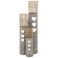 vidaXL Frittstående lanterner for stearinlys 3 stk kurvstrå