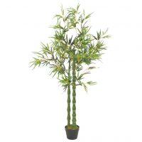 vidaXL Kunstig bambusplante med potte grønn 160 cm