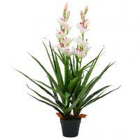 vidaXL Kunstig cymbidium orkide med potte 100 cm grønn