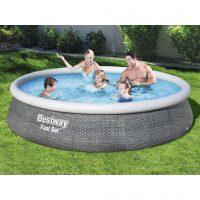 Bestway Oppblåsbart basseng Fast Set med pumpe 396x84 cm