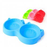 Dobbel katteformet vann- og matskål til pus