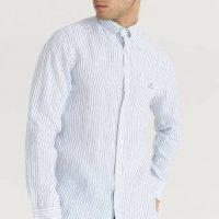 Gant Skjorte Reg Stripe Linen BD Hvit
